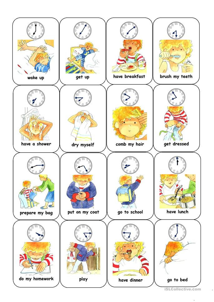 41 FREE ESL daily activities worksheets