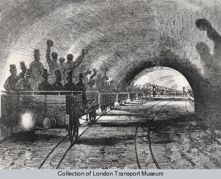 Shareholders and VIPs during an inspection of the Metropolitan Railway - London Transport Museum