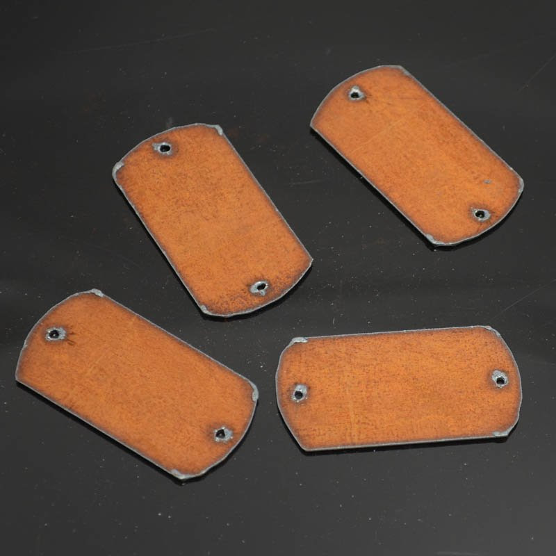 s38296 Stamped Metal Components - Two Hole Dog Tag - Rusted Iron (1)