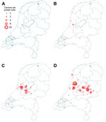 Thumbnail of Spread of methicillin-resistant Staphylococcus aureus spa t1081 in the Netherlands, 2007–2013. A) 2007; B) 2009; C) 2011; D) 2013. Data were obtained from http://www.rivm.nl/mrsa. A color version of this figure is available online (http://wwwnc.cdc.gov/EID/article/21/6/14-1597-F1.htm).