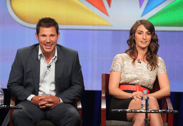 Nick Lachey Host Nick Lachey (L) and judge Sara Bareilles speak during 'The Sing-Off' panel during the NBC Universal portion of the 2011 Summer TCA Tour held at the Beverly Hilton Hotel on August 1, 2011 in Beverly Hills, California.