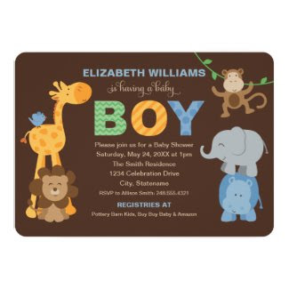 "Baby Shower Invitation | Jungle Animals for Boy 5"" X 7"" Invitation Card"