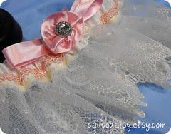 ballerina ivory garter with silk rosette