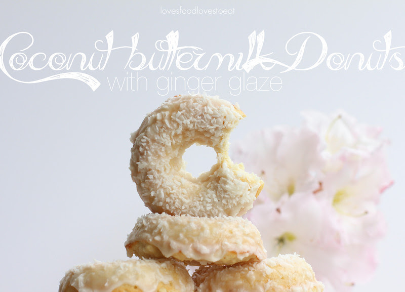 Baked Coconut Buttermilk Donuts with Ginger Glaze// Loves Food, Loves to Eat