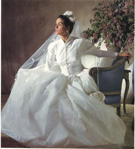 Atypical, restrained bridal gown design by Mori, 1988