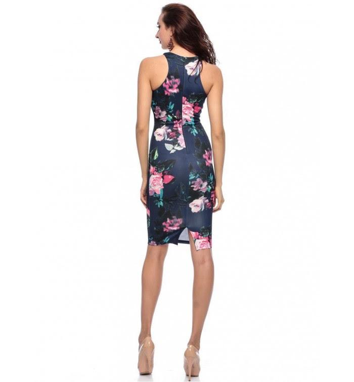 Ax paris navy floral high neck bodycon dress