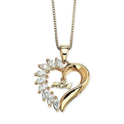 1.35 TCW Cubic Zirconia Mom Heart Pendant Necklace in 18k