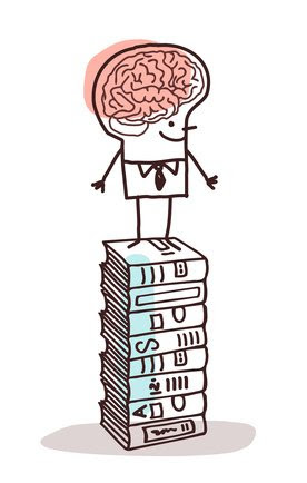 man with big brain on stack of books