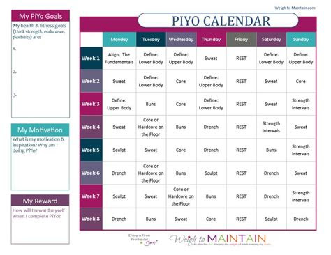 chalene johnson piyo workout calendar printable piyo