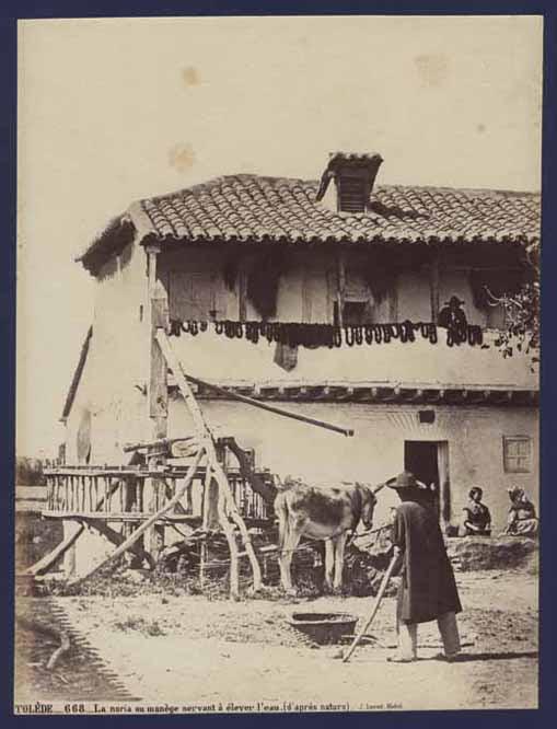Noria en Toledo hacia 1860. Foto Jean Laurent