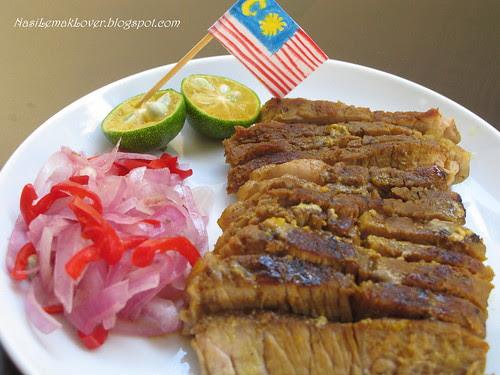Daging Bakar (Roasted turmeric beef) and Air Asam
