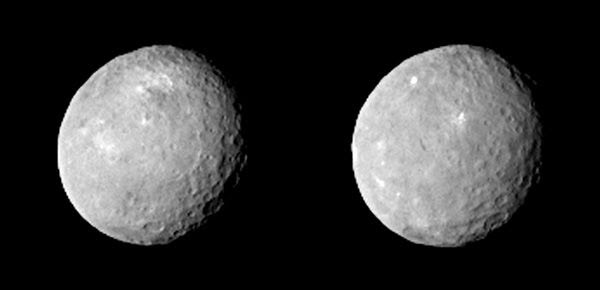 Two images of the dwarf planet Ceres that were taken by NASA's Dawn spacecraft from a distance of 52,000 miles (83,000 kilometers), on February 12, 2015.
