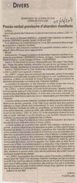 PV d'abandon manifeste de la maison Lanfranchi à Aullène