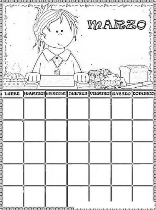 Calendario De Marzo Para Pintar Y Colorear Colorear Dibujos Varios