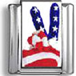 American Flag Peace Sign Italian Charm