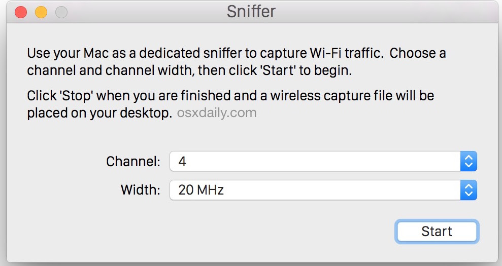 Start packet sniffing on channels to capture packets in Mac OS X