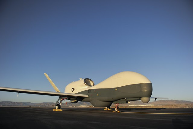 In this undated file photo, an RQ-4 Global Hawk unmanned aerial vehicle sits on a flight line.