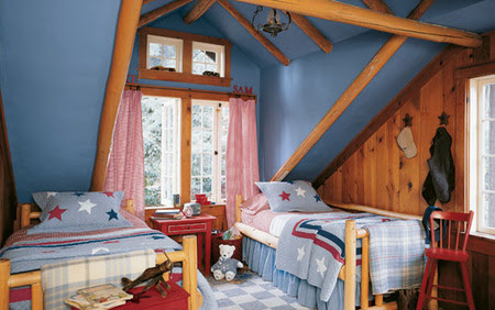 Red, white & blue - Boy's bedroom - Gray, blue and purple themes