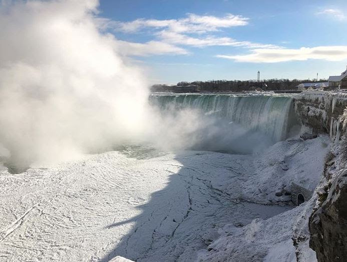 Pictures of the Niagara Falls looking as icy as ever. But not completely frozen. Credit: Instagram/ingegroot