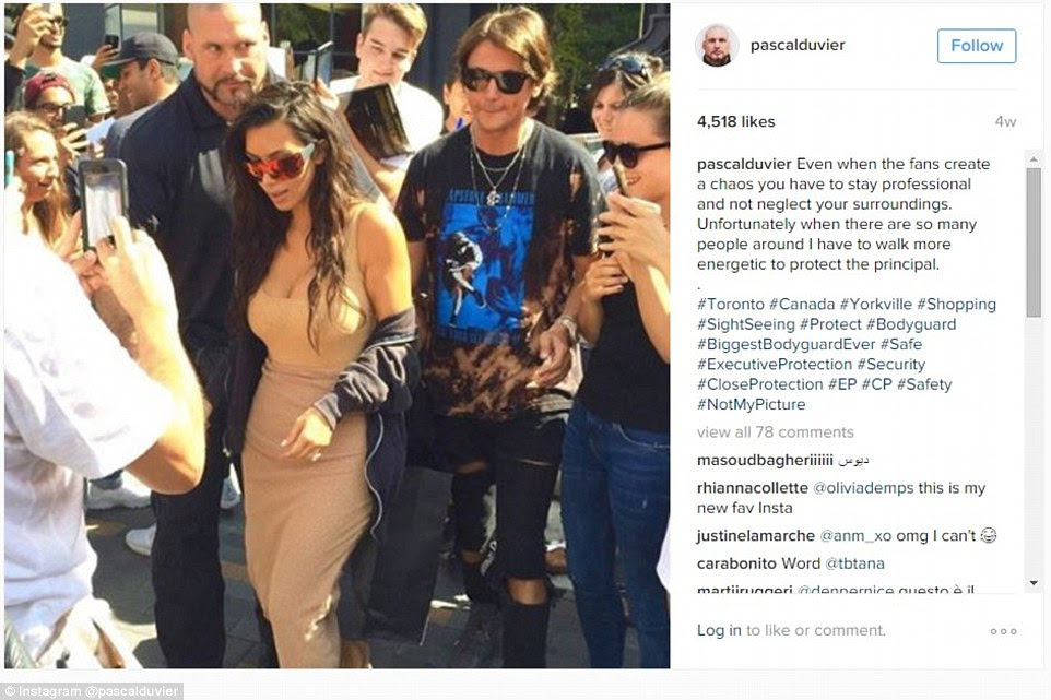 High opinion: Pascal Duvier's self aggrandizing Instagram posts reveal how much faith he appears to have in himself and his ability to protect his employer, Kim Kardashian