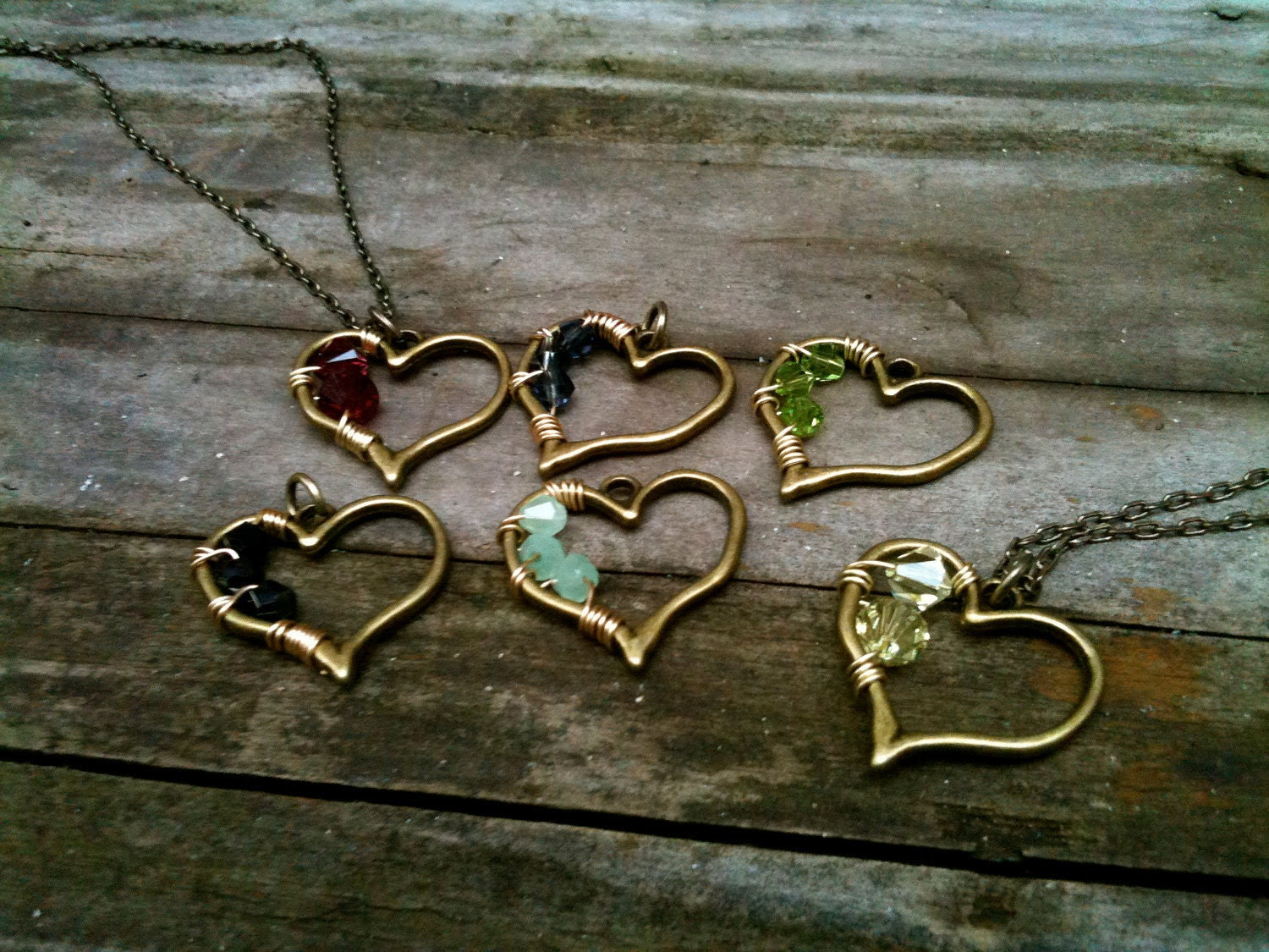 Brass Heart & Swarovski Crystal Custom Pendant Necklace