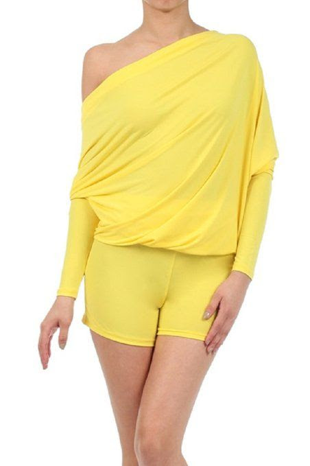 LJIF Women's Sexy YELLOW Reversible Dolman Sleeve Romper-small