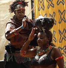 Zimbabwe women dancers perform traditional cultural motifs on stage. The culture of the people extends back centuries. Zimbabwe won its independence through armed struggle in 1980. by Pan-African News Wire File Photos