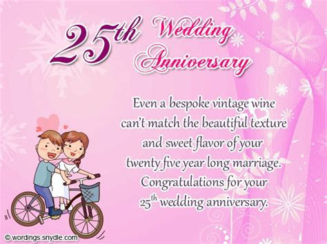 Wedding Couple Wishes: 25th Wedding Anniversary Wishes