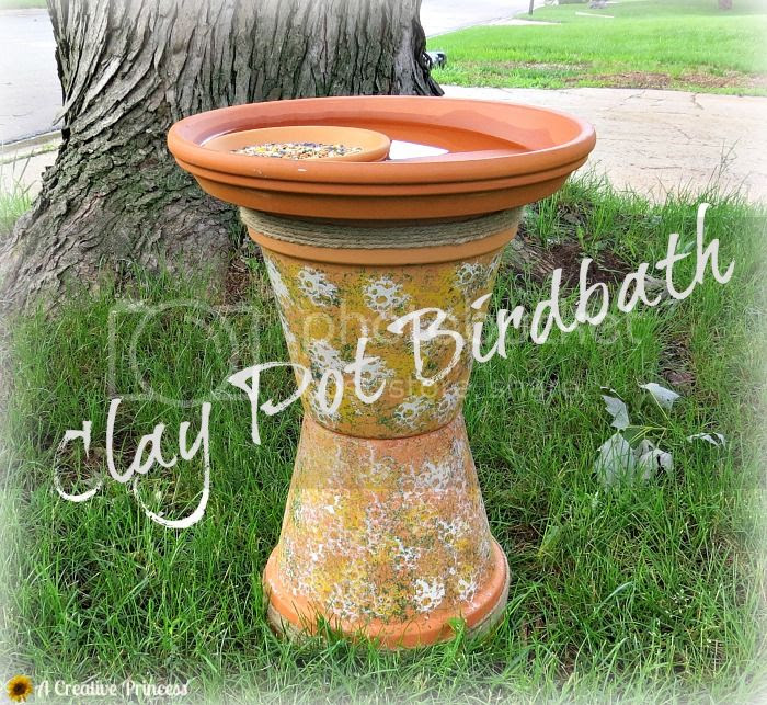 http://acreativeprincess.blogspot.com/2014/06/clay-pot-birdbath.html