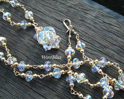 wire wrapped sparkly Swarovski crystal necklace and a matching pendant
