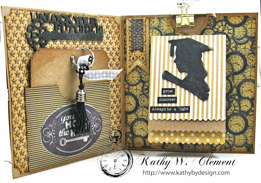 Authentique Accomplished Graduation Mini Album Tutorial by Kathy Clement for Gypsy Soul Laser Cuts 04