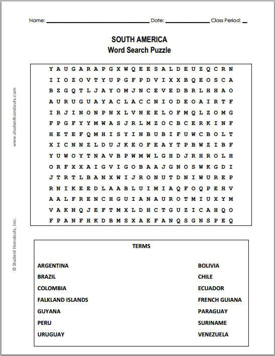 South America Word Search Puzzle - Free to print (PDF file ...
