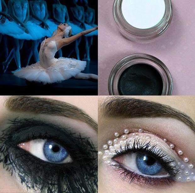 """""""Eye-art"""" inspiradas no cisne negro e no cisne branco (Foto: Reprodução/Tal Peleg)"""