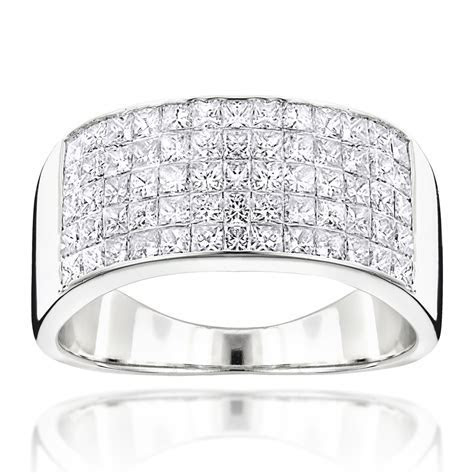 Mens Wide Wedding Band with Princess Cut Diamonds 2.11ct