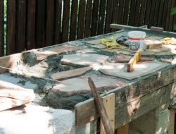 DIY Outdoor Kitchen and Pizza Oven - Countertop of the outdoor kitchen