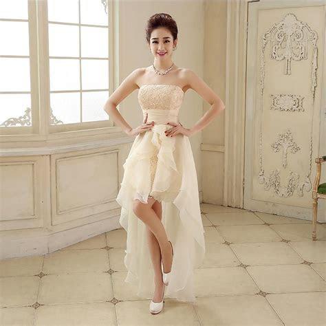 White Short Front Long Back Wedding Dress Tulle Appliques