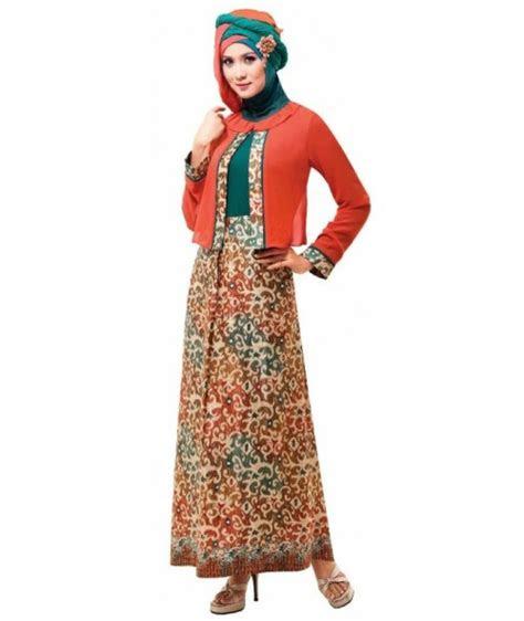 model baju gamis batik kombinasi   trend