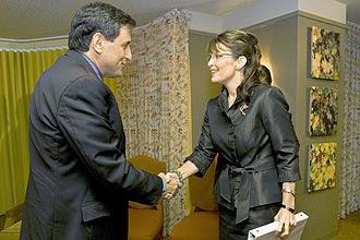 Sarah Palin com o embaixador de Israel nos EUA, Sallai Meridor