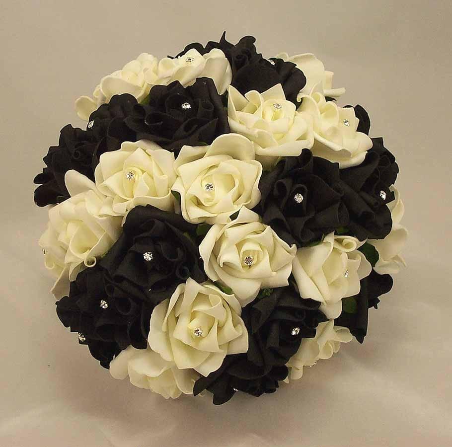 Bridal Bouquets Black White Rose Diamante Bridal Bouquet Silk
