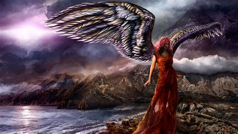 hd wallpaper angel mountain girl