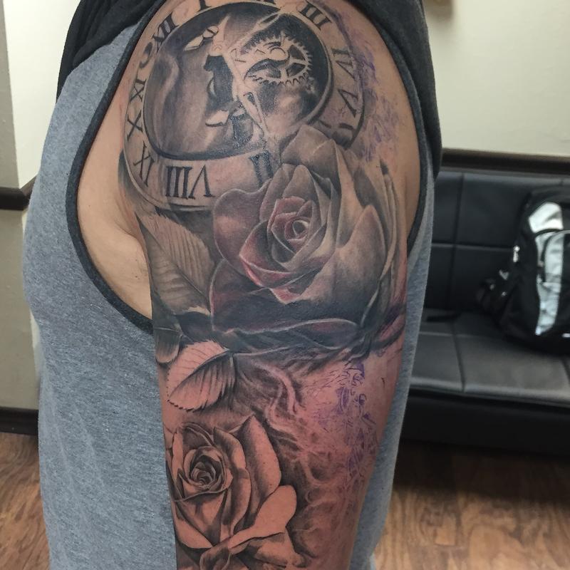 606382521339d Cap1 Tattoos Tattoos In Progress Mechanical Clock And Roses