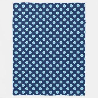 Cozy Bright Blue Polka Dots on Navy Fleece Blanket