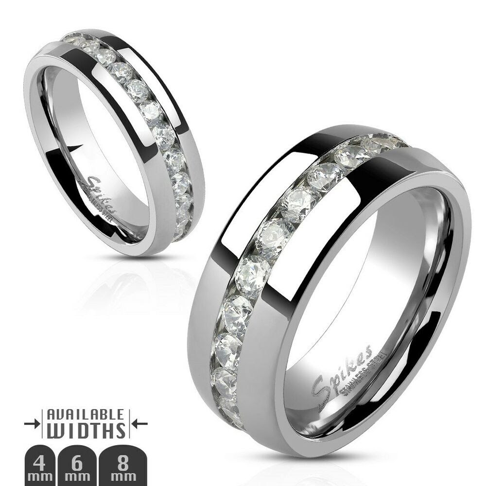 Stainless Steel Eternity CZ Wedding Band Ring 4mm 6mm 8mm