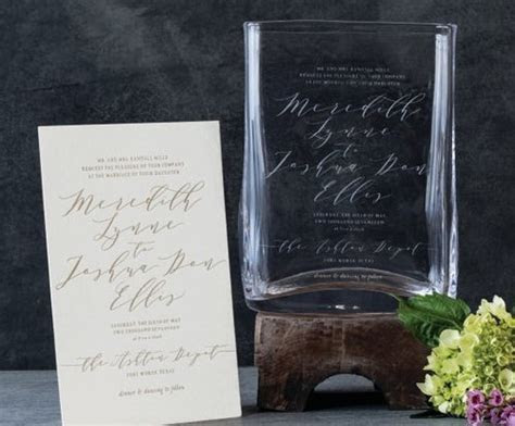 Simon Pearce Engraved Wedding Invitation Vase