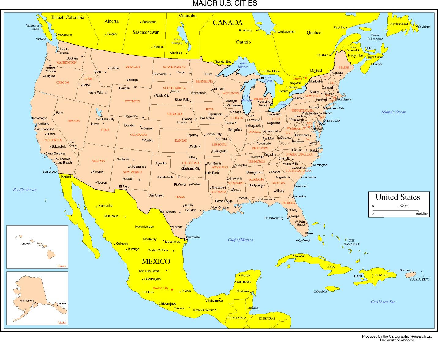 Us And Canada Map With Cities Map Of United States And Canada With Major Cities | CVFLVBP