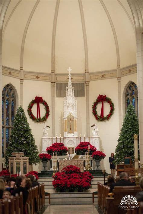 Christmas Wedding. Church ceremony. Christmas trees