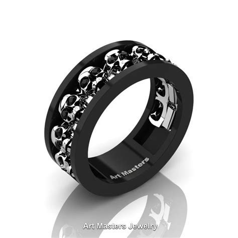 Mens Modern 14K Black and White Gold Black Diamond Skull
