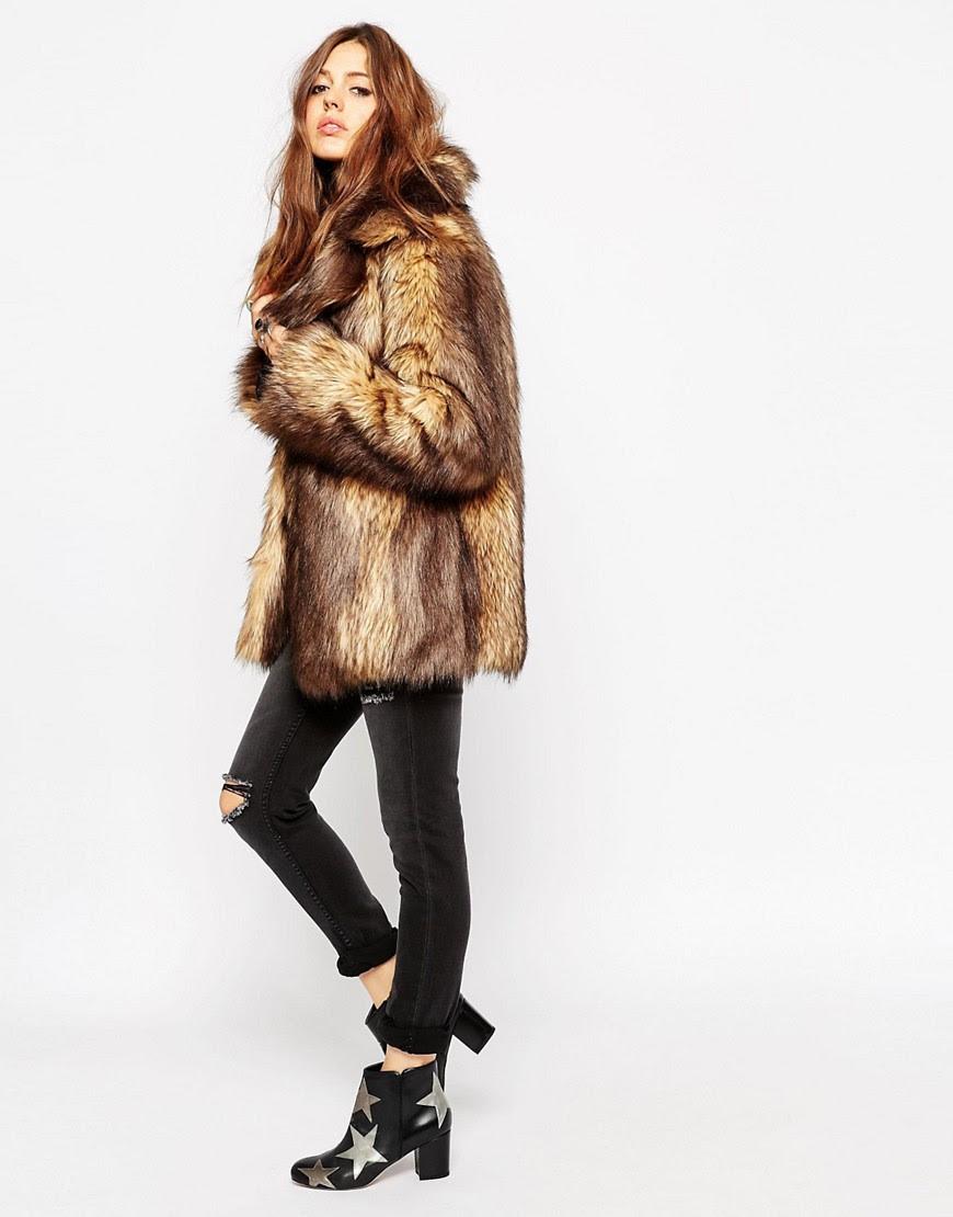 Image 4 ofASOS PETITE Vintage Faux Fur Coat