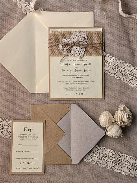 rustic burlap heart wedding invitation kits deer pearl