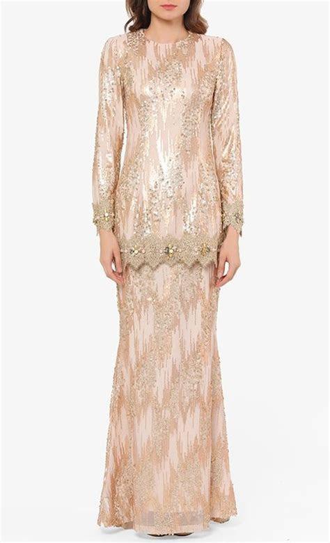 loreeta modern baju kurung set  gold cream fashionvalet